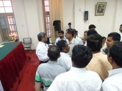Sri D P Manjunatha interacting with the audience after the meeting